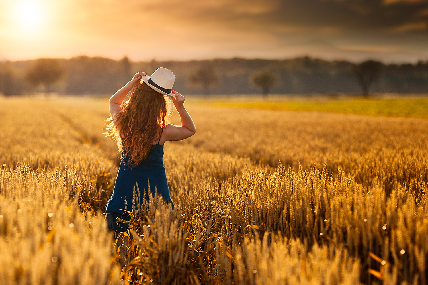 Un femme avec une robe bleu dans un champs avec un coucher du soleil