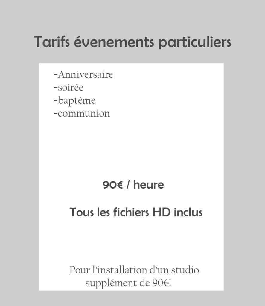 tarifs evenements particuliers