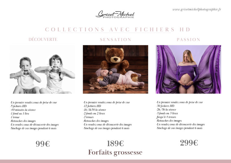 tarifs forfaits grossesse griset michel photographie
