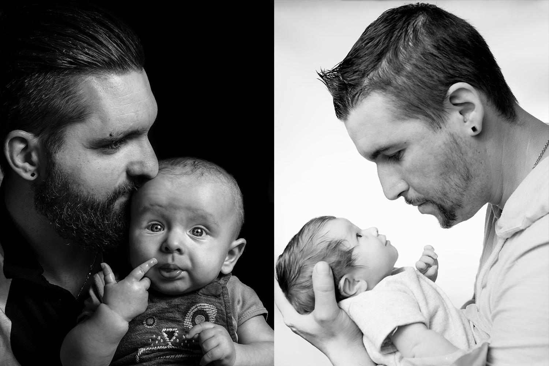 deux photos en noir et blanc de papas avec leurs bebe