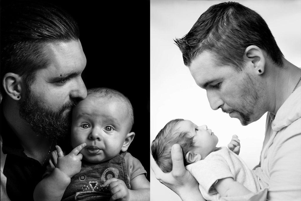 deux peres avec leur enfants en studio photo en noir et blanc