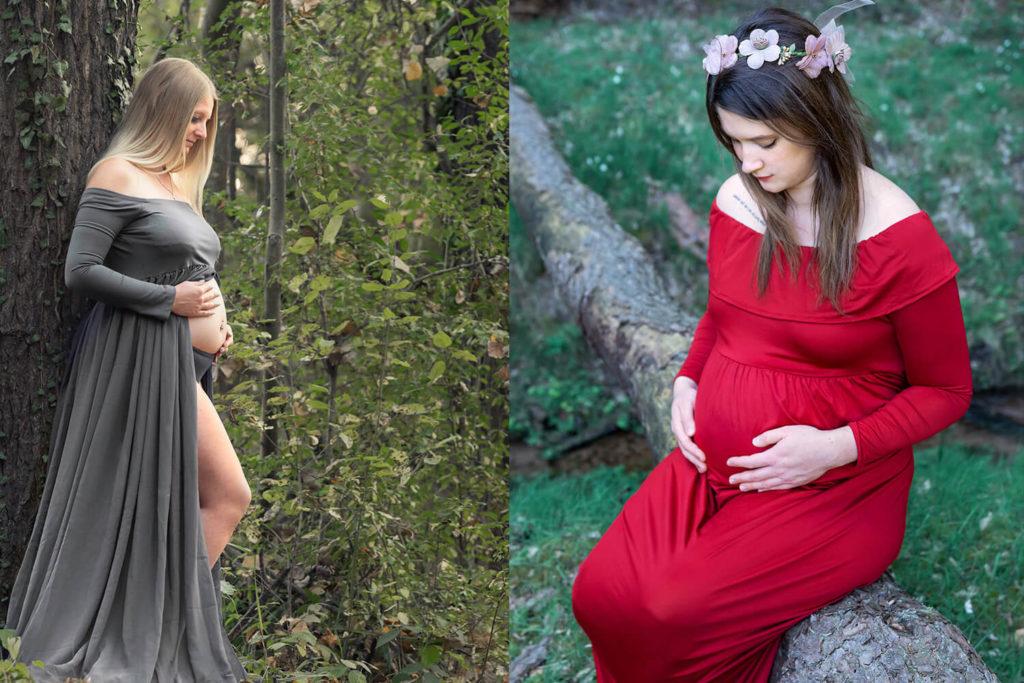 deux femmes enceinte en robe dans une foret en alsace