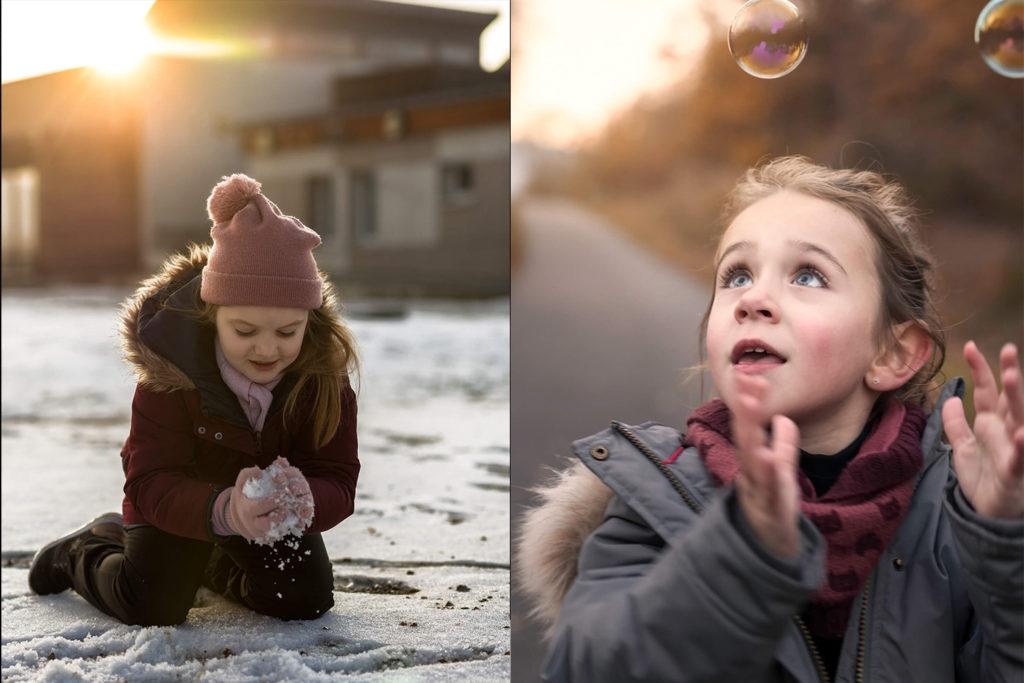 une petite fille qui joue avec des bulles et une autre qui joue dans la neige