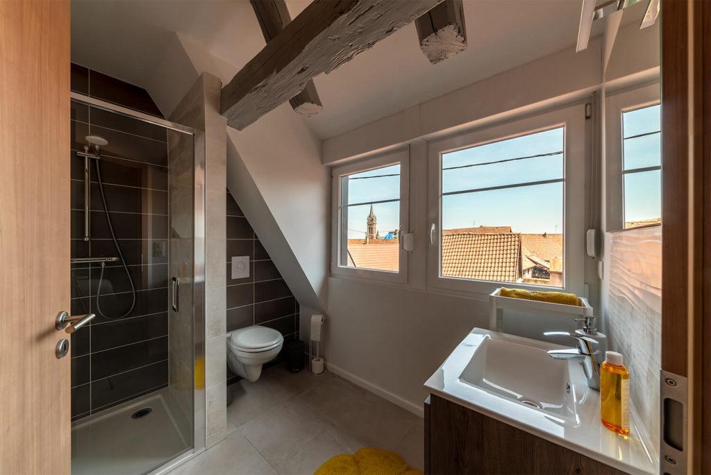 salle de bain avec vu sur les toits et sur lelise de dambach la ville photo immobiliere