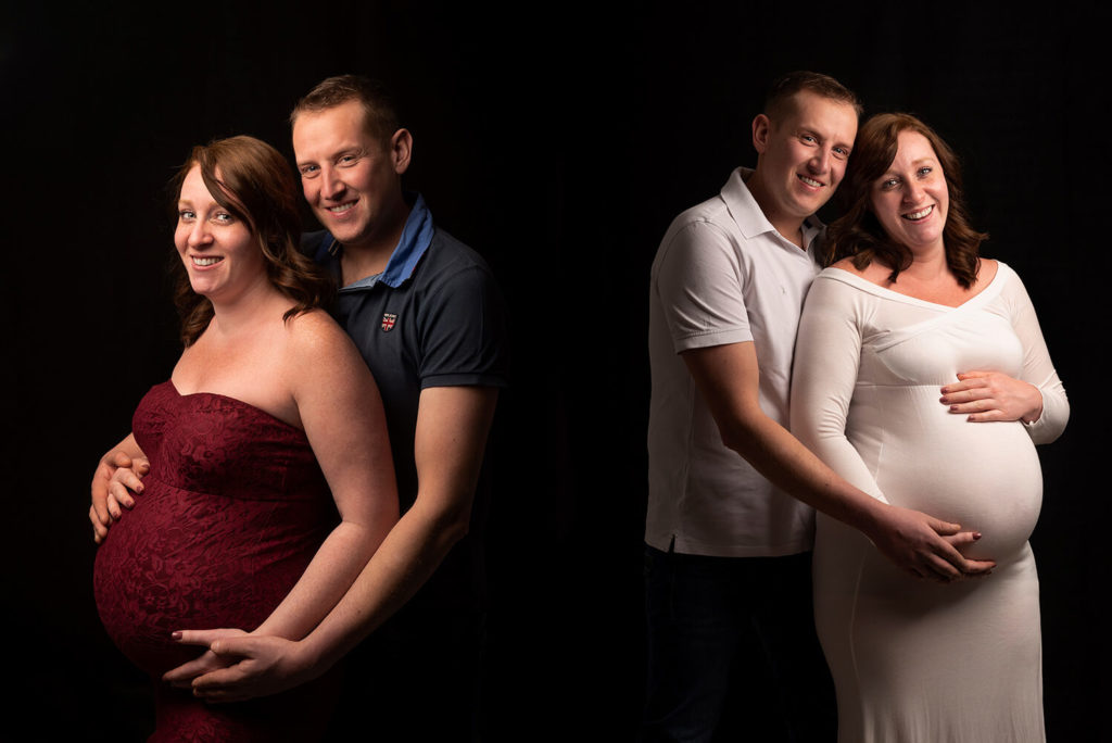 deux futurs parents bras dans les bras lors d une seance photo en studio