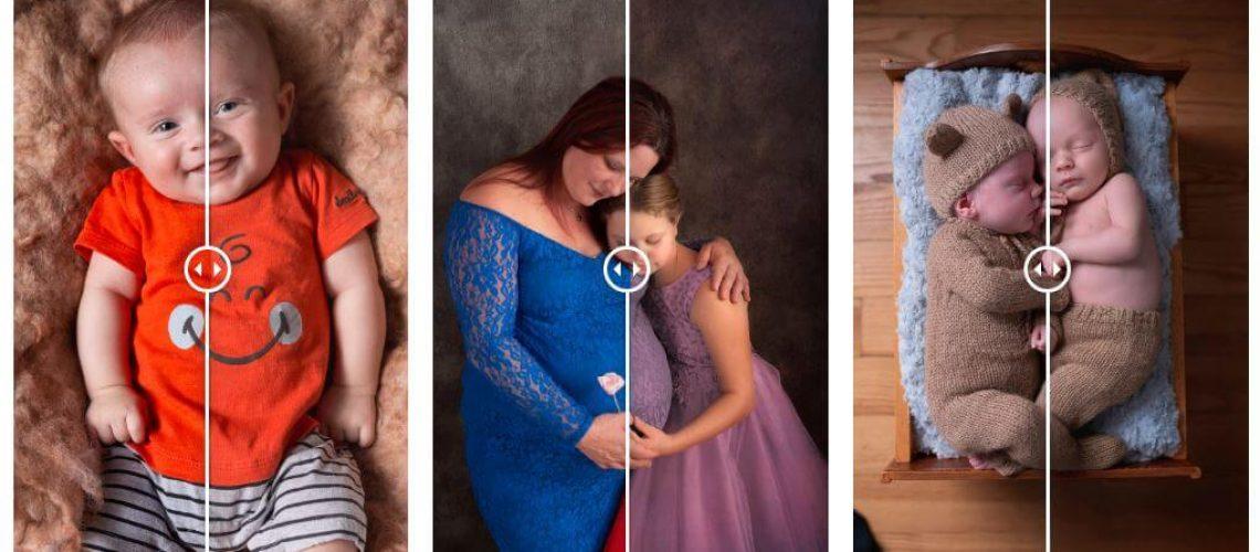 trois photos avant et apres la retouche photoshop lightromm